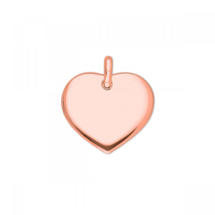 Rose gold-plated curved heart medal