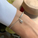 925 Silver half bangle and chain bracelet & cowrie shell