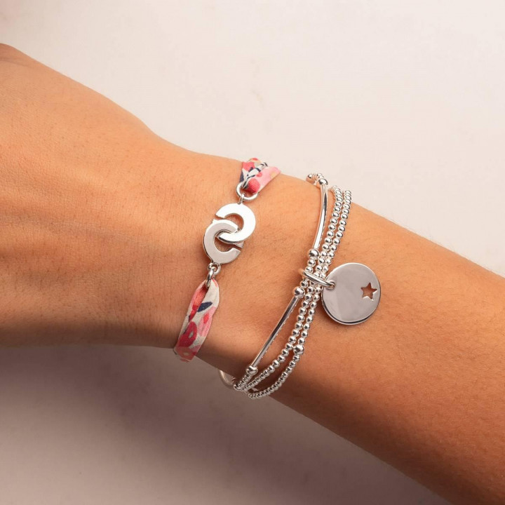 925 Silver three-row and customizable medal bracelet