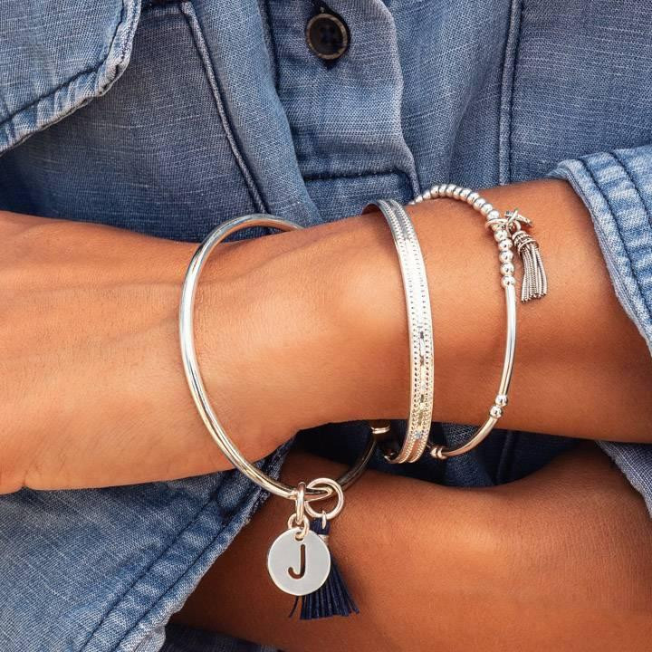 925 Silver double dotted line lock bangle