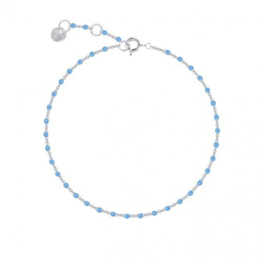 Chain bracelet with small grey blue beads
