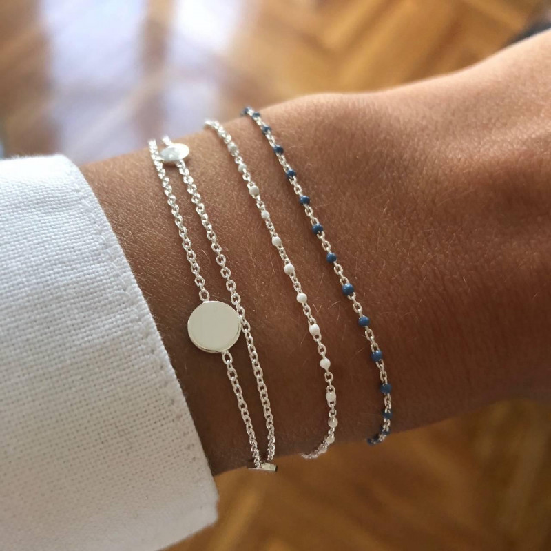 925 Silver chain bracelet with mini grey blue beads