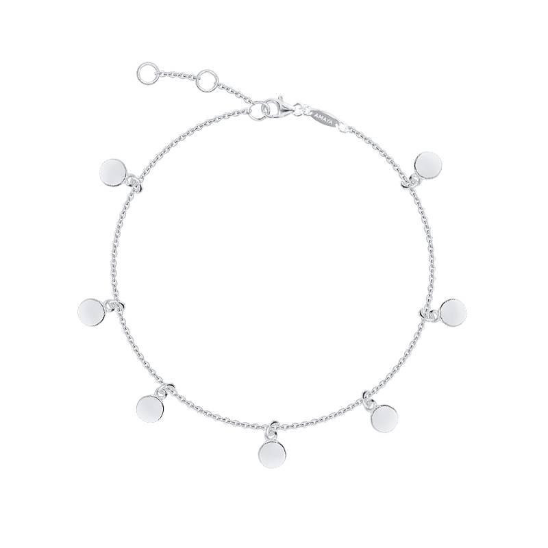 925 Silver mini smooth hanging medals chain bracelet