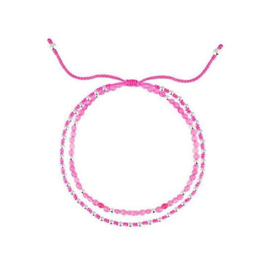 Neon pink beads braided bracelet