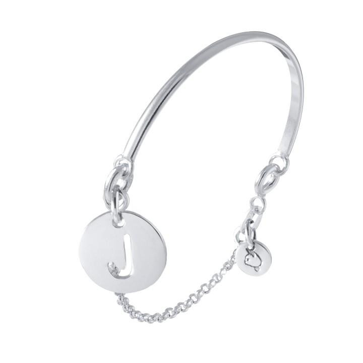 Half bangle and chain bracelet with perforated initial letter for children