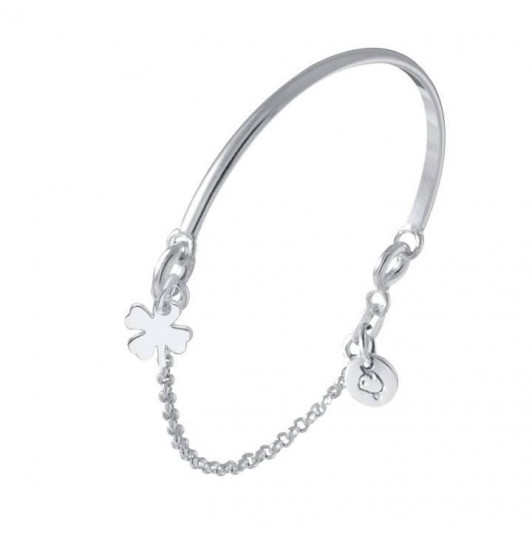 Half bangle and chain bracelet with clover