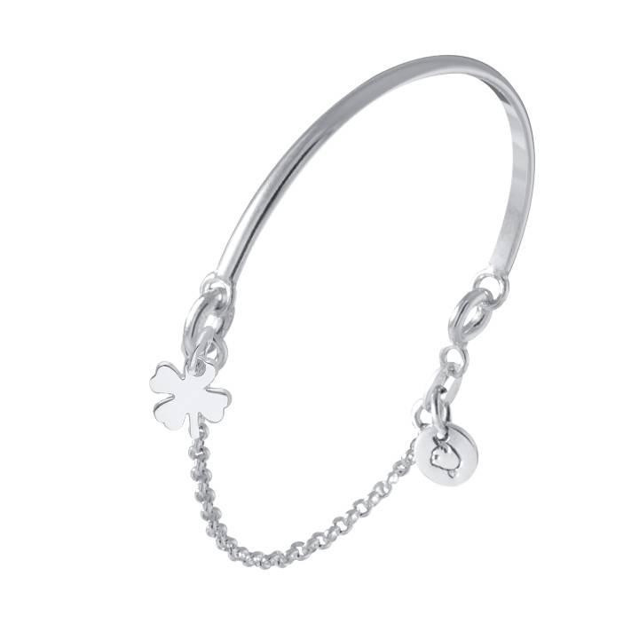 925 Silver half bangle and chain bracelet with clover