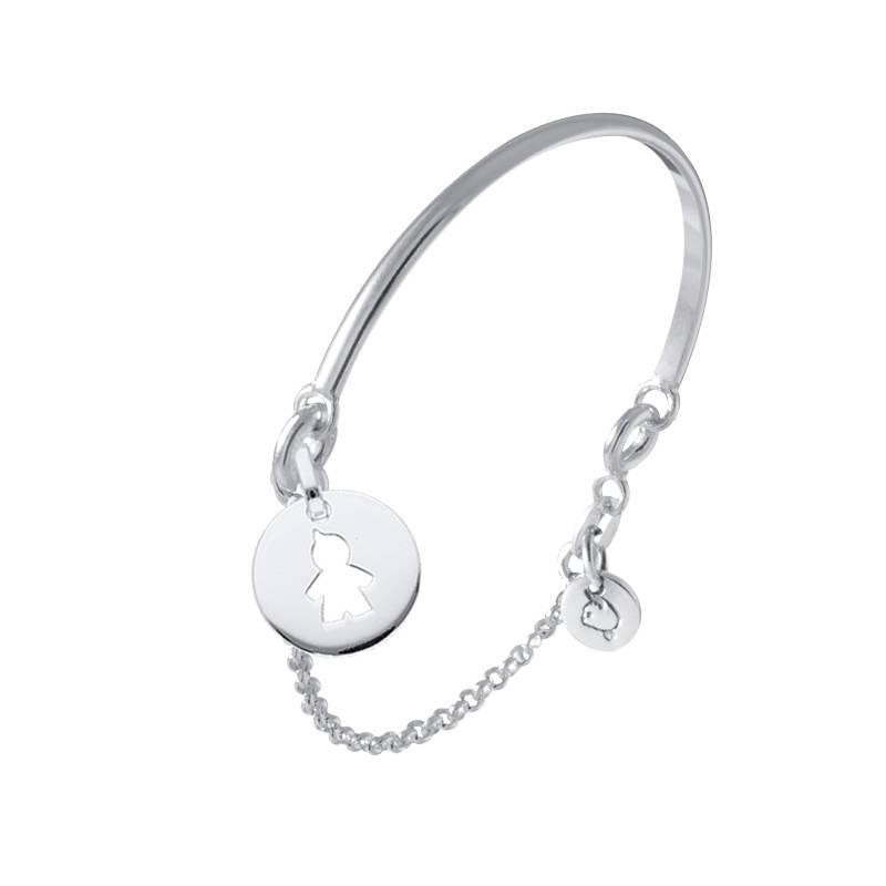 Half bangle and chain bracelet with boy perforated medal