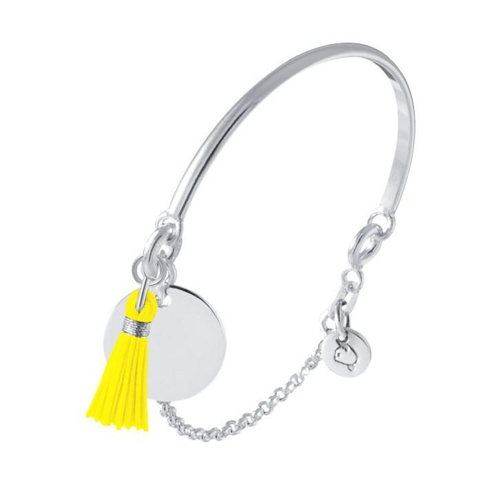 925 Silver half bangle and chain bracelet with medal and pompom