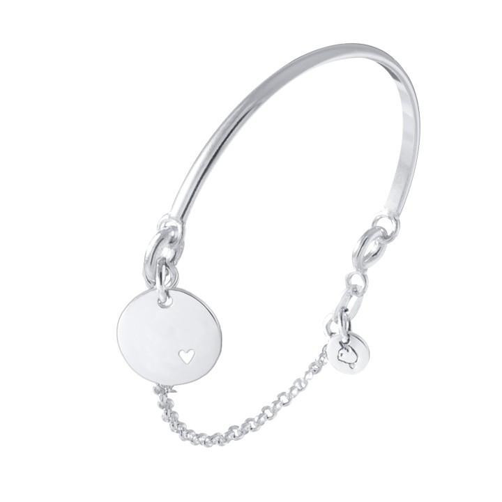Half bangle and chain bracelet with medal and little perforated heart for children