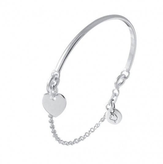 Half bangle and chain bracelet with heart medal for children