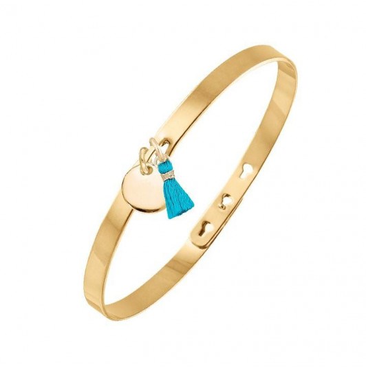 Lock bangle with small pompom and small medal