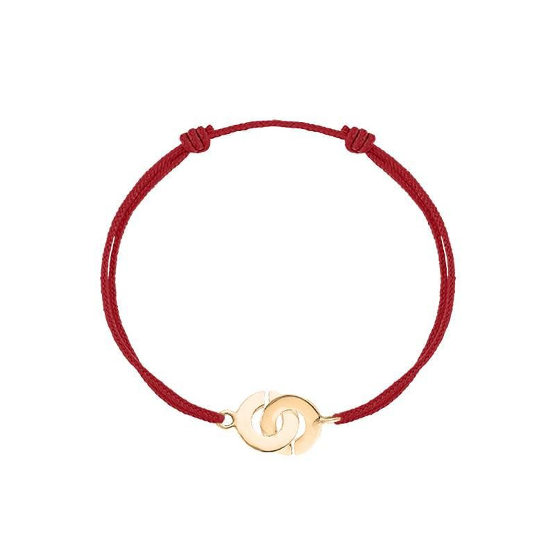 Tie bracelet with gold-plated small handcuffs for men