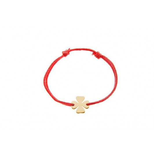 Tie bracelet with little gold-plated clover for children