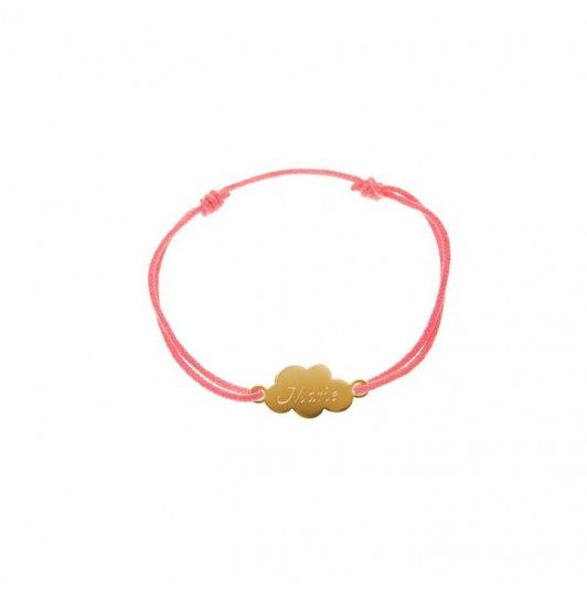 Tie bracelet with gold-plated small cloud for children