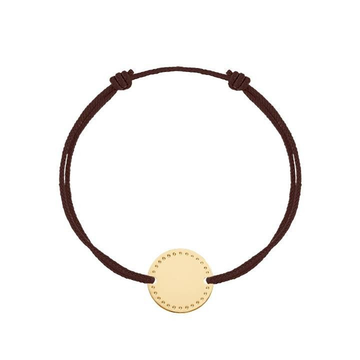 Gold-plated tie bracelet with dotted line medal