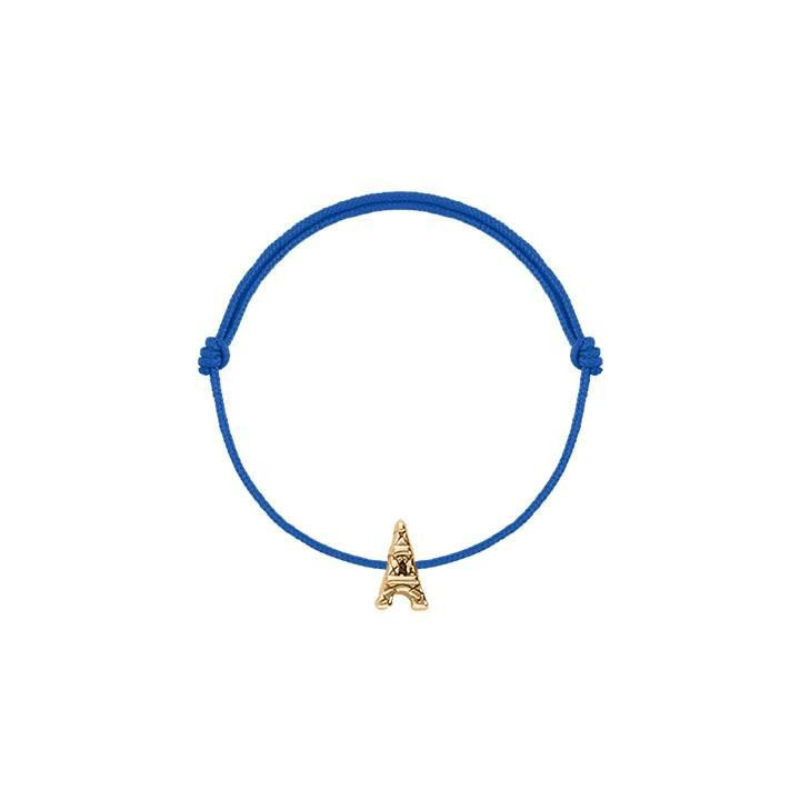 Tie bracelet with gold-plated mini eiffel tower for children