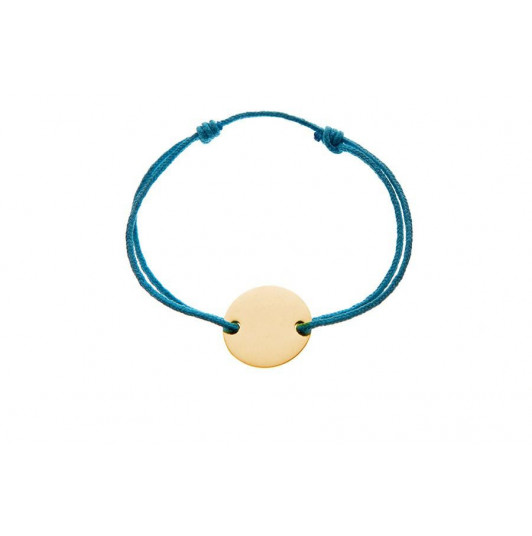 Tie bracelet with gold-plated flat medal for children