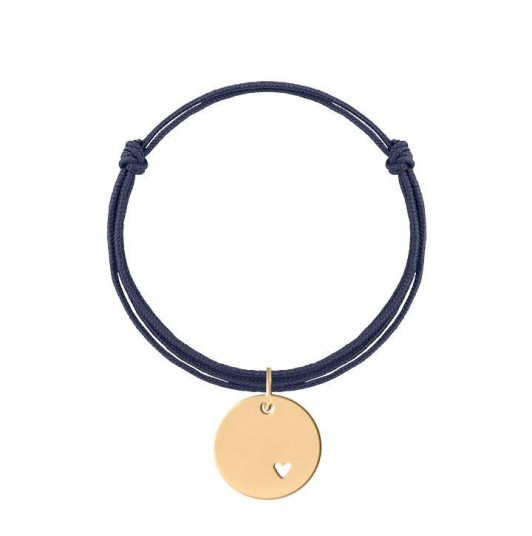 Tie bracelet with perforated small heart medal