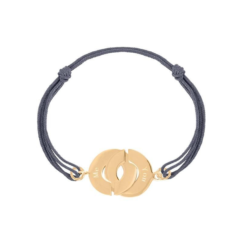 Tie bracelet with large gold-plated cuffs for men