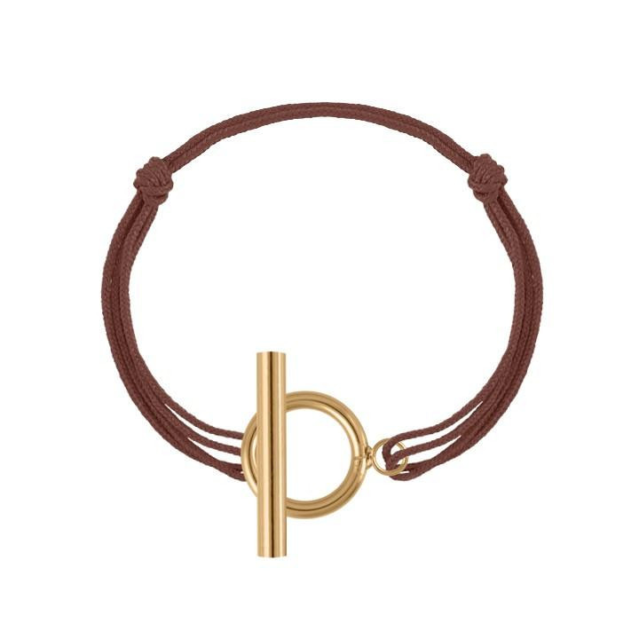 Gold-plated tie bracelet with T toggle