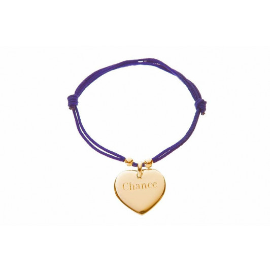 Tie bracelet with gold-plated curved heart and pearls