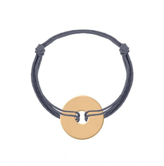 Tie bracelet with gold-plated target for men