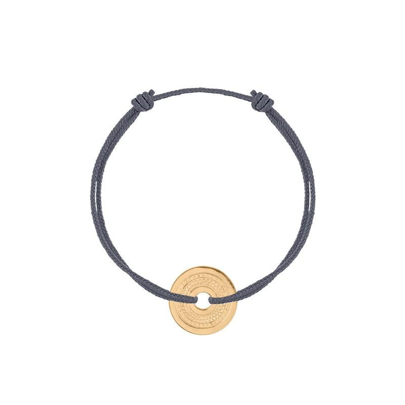 Tie bracelet with gold-plated designs target