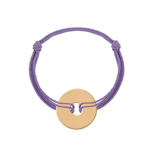 Tie bracelet with gold-plated target