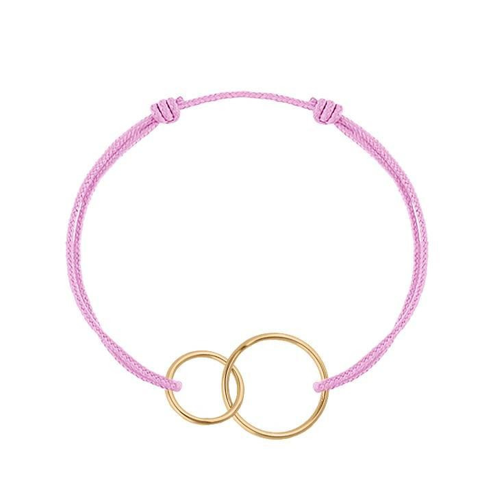 Gold-plated thin interlaced rings tie bracelet