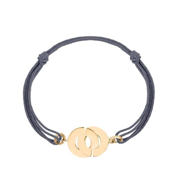 Tie bracelet with gold-plated cuffs for men