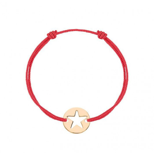 Tie bracelet with large pierced star