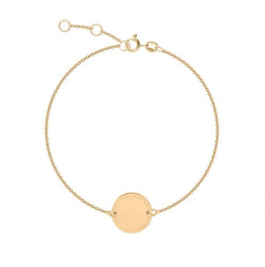Dotted line medal on chain bracelet