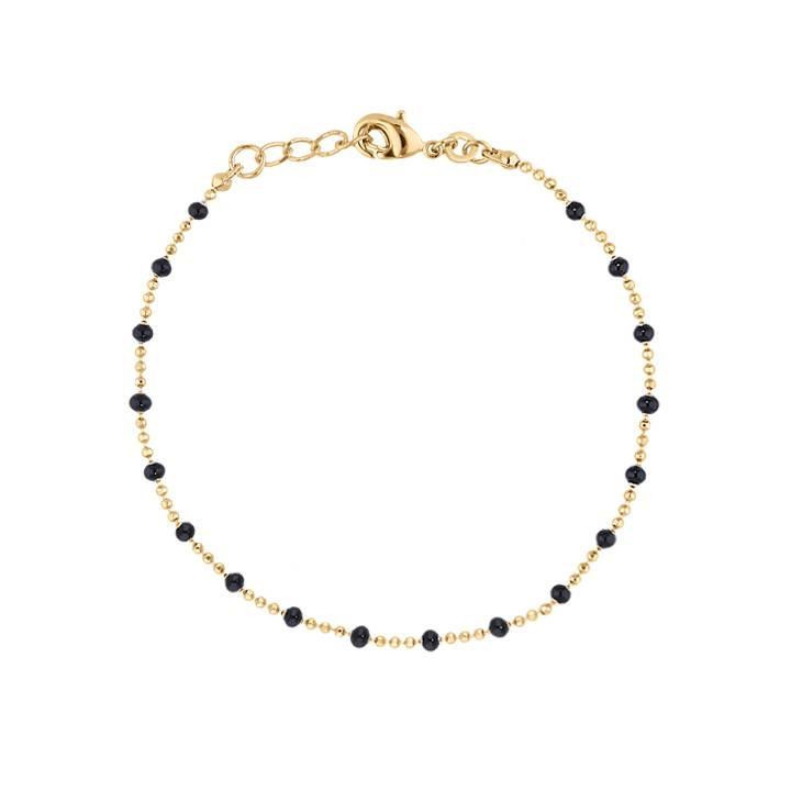 Gold-plated chain bracelet with small black beads