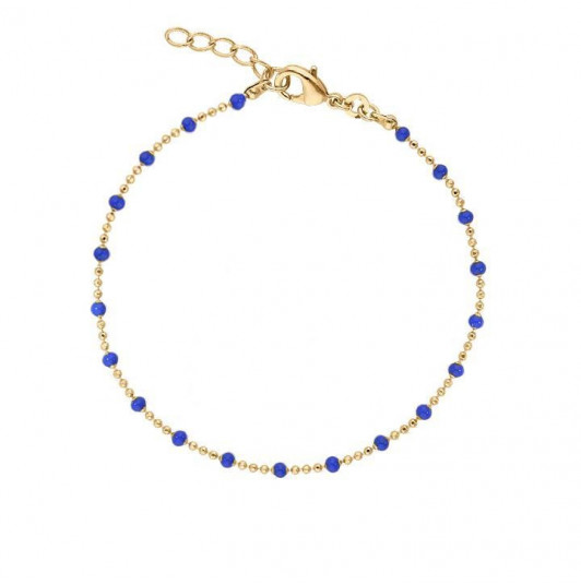 Chain bracelet with small blue beads
