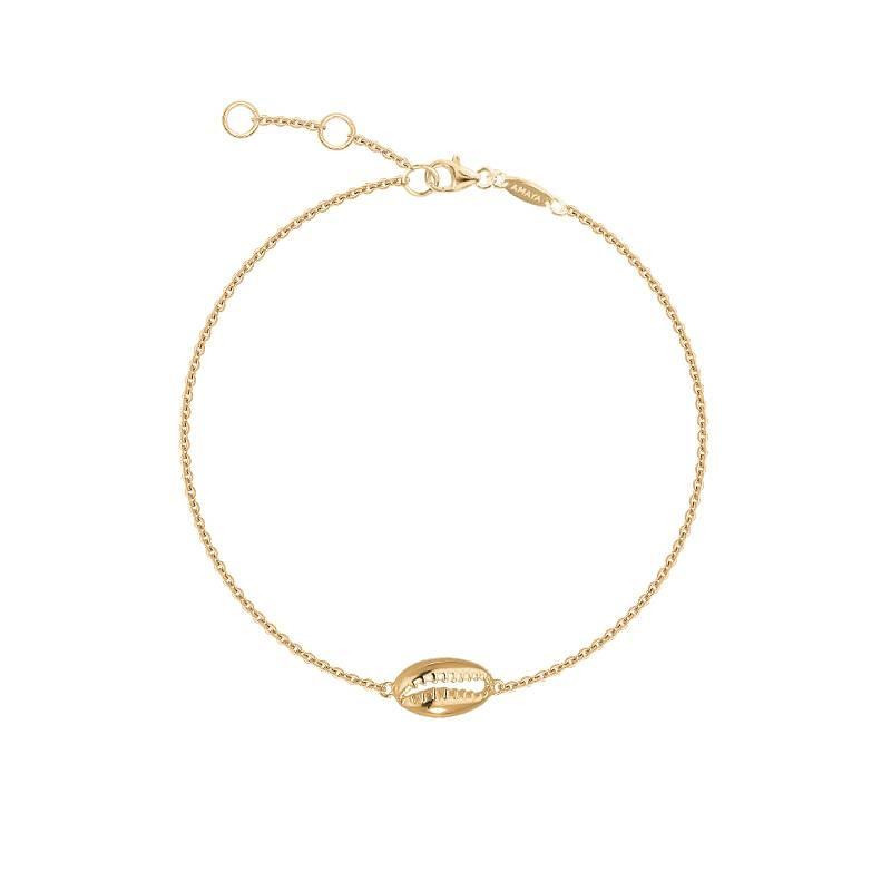 Gold-plated cowrie shell chain bracelet