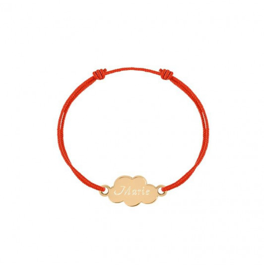 Tie bracelet with gold-plated small cloud