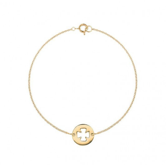 Chain bracelet with perforated clover medal