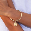 Gold-plated bangle bracelet with curved medal