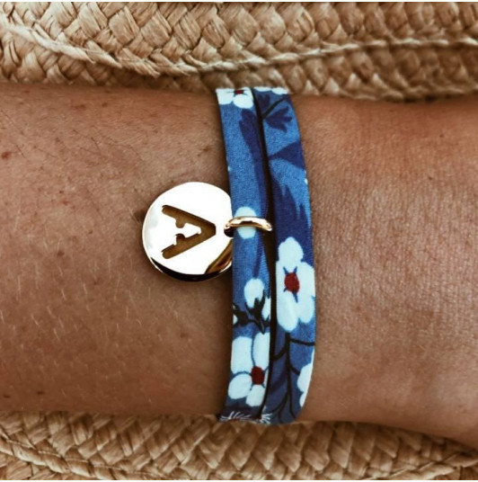 Liberty bracelet with perforated initial