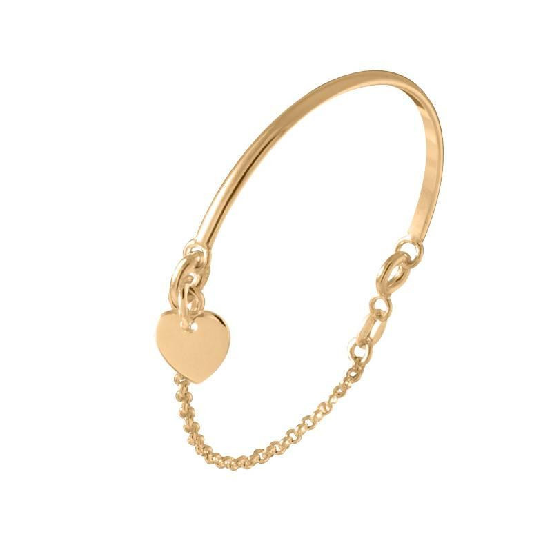 Gold-plated half bangle and chain bracelet with heart medal for children