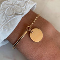 Gold-plated half bangle and chain bracelet with medal