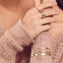 Gold-plated wavy hammered lock bangle
