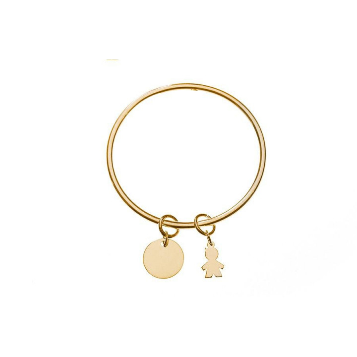Gold-plated bangle with medal & figure