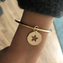 Gold-plated star medal bangle
