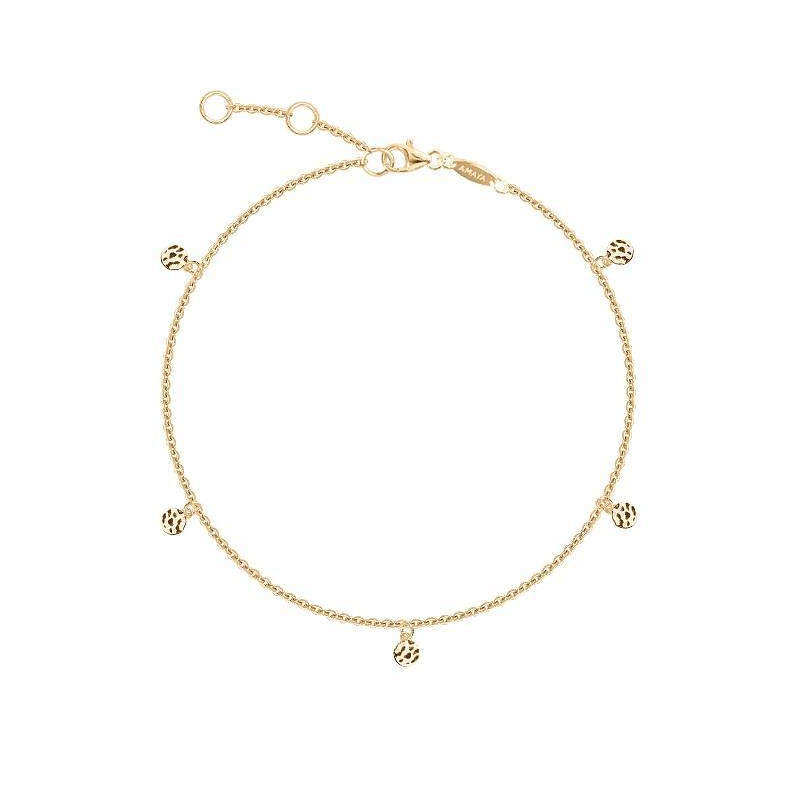 5 mini hammered medals gold-plated chain bracelet