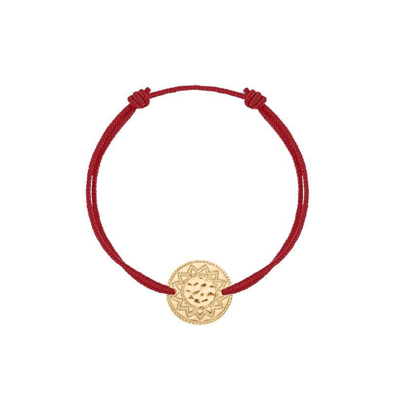 Tie bracelet with gold-plated Solar coin