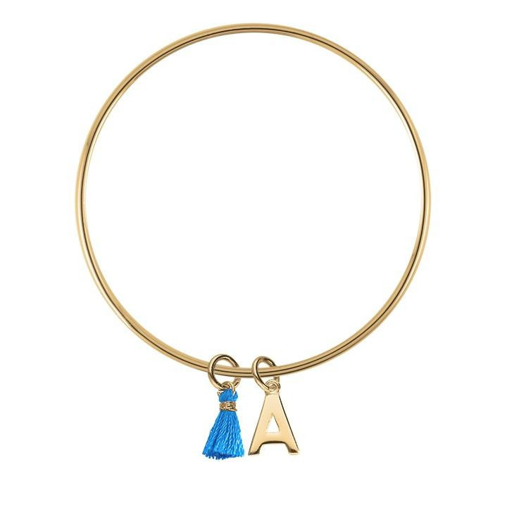 Thin bangle bracelet with a letter charm