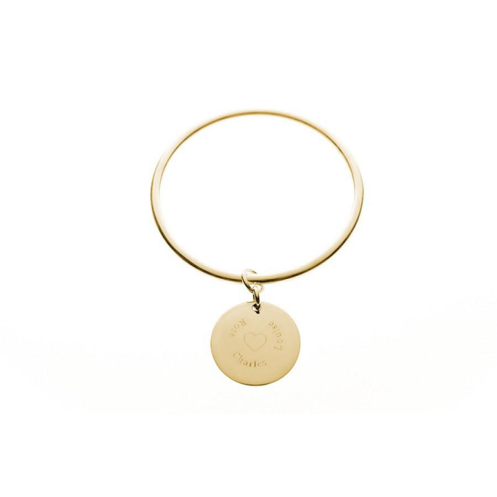Gold plated bangle with medal