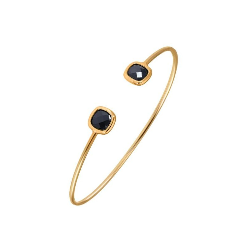 Open black gemstone bangle